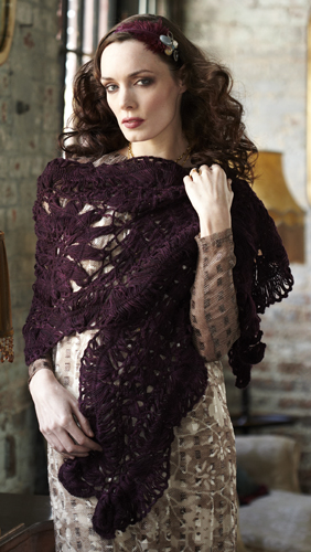 Hairpin/Broomstick Lace Crochet Wrap, designed by Lisa Daehlin, published in VK Crochet Spring 2013, Photo Credit: Vogue Knitting Crochet 2013, photo by Paul Amato for LVARepresents.com